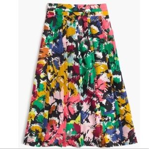 J. Crew Brushstroke silk colorful midi skirt